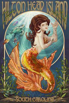 Hilton Head Island, South Carolina - Mermaid - Lantern Press Poster