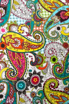 Fabric Wall Canvas Paisley Print // Colorful by AquaXpressions,