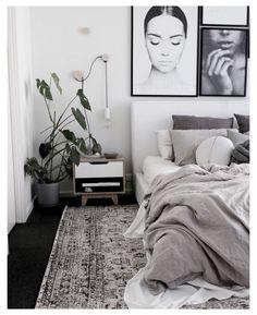 Scandi Bedroom, Monochrome Bedroom, White Bedroom Decor, Room Ideas Bedroom, Home Decor Bedroom, Modern Bedroom, Monochrome Interior, Bedroom Inspo, White Bedroom Black Furniture