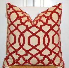 Decorative Pillow Cover - 20X20 - Accent Pillow - Throw Pillow - Trellis - Lattice - Amaryllis - Red. $45.00, via Etsy.