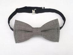 Men's grey gray wool bow tie  tweed bow tie by KristineBridal