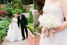 Photography by Lisa Lefkowitz | Dress - Oscar de la Renta | Bouquet - Sweet Peas by Sharla Flock