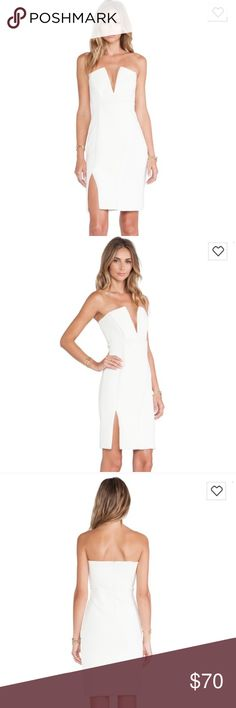 NDB white dress White/ivory NBD dress with boning and side slit. Never worn! Purchased from Revolve. Tagged similar brand finders keepers for views! Finders Keepers Dresses Midi