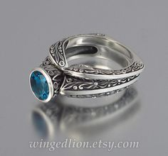 The COUNTESS London Blue Topaz silver ring and band set sizes 7 to 9.5 Silver Wedding Bands, Diamond Wedding Bands, Gold Wedding, Jewelry Insurance, Michael Kors Jewelry, London Blue Topaz, Jewelry Design, Unique Jewelry, Wedding Sets