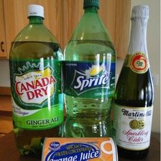Easy non-alcoholic party punch for a crowd - great for celebrations at work  What you need: 1-bottle Canada Dry Ginger Ale 1- Bottle Sprite 1- Bottle Sparkling Apple Cider 1- Can frozen Orange Juice.  Mix all together into a punch bowl and enjoy!