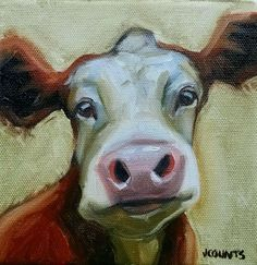 "KYLE BUCKLAND JENN COUNTS FARM ART COW CATTLE ANIMAL OIL PAINTING A DAY Impressionism FINE ART WALL ART COLLECTIBLE CUTE ANIMALS HOME RESTAURANT OFFICE CABIN DECOR ""Carlson"" Oil on Canvas 6""x6"""