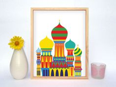 St Basil's Cathedral / Kremlin Illustration - Mounted Print on Etsy, $8.66