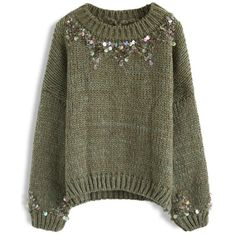 Chicwish Focus on Sparkle Sequin Knit Sweater in Dark Green (530 MAD) ❤ liked on Polyvore featuring tops, sweaters, green, green top, sparkly sequin top, sparkly sweater, knit sweater and chicwish tops