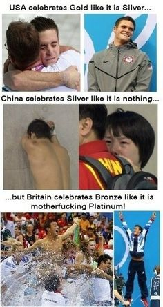 Best celebration of the Olympics . USA (David Boudia) celebrates gold like it is silver, China (Qiu Bo) celebrates silver like it is nothing, but Britain (Tom Daley) celebrates bronze like it is platinum. (Excuse the language) Dream Cars, British Humor, Tom Daley, Have A Laugh, Funny Pins, Funny Stuff, Random Stuff, Funny Cute, I Laughed