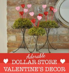 DOLLAR TREE VALENTINE DECOR   ... at The Dollar Tree. I used moss and cake stands that I already had it