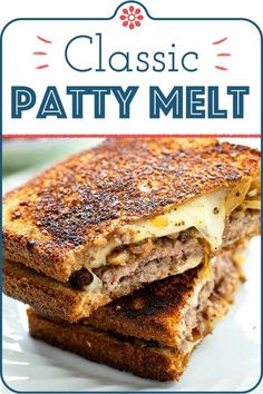 Classic Patty Melt! Switch up your burger game and make a patty melt for dinner (or lunch) this week. Layer caramelized onions, Swiss cheese, and a perfectly thin burger patty between two slices of toasted bread for the BEST HOMEMADE patty melt ever! This recipe serves two, but you can easily scale it up or down. #simplyrecipes #pattymeltrecipe #pattymelt #sandwichrecipe #groundbeefdinnerideas #comfortfood #barfoodrecipes