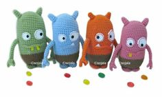 Jelly Bean Monster Crochet Pattern Amigurumi Monsters via Etsy by Amigurumi To Go