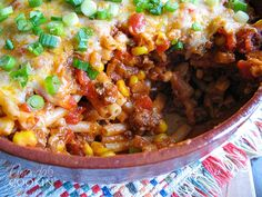 Southwest Ground Beef Casserole - a delicious combination of ground beef, southwest flavors, pasta and cheese makes for a hearty and satisfying weeknight meal!