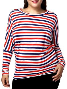 $9.23 Casual Plus Size Batwing Sleeve Striped Women's T-Shirt