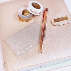 """#Repost @inspiredlifestudios ・・・ Absolutely obsessed with the color rose gold...if you couldn't tell..hehe!! Rose gold everything today: washi, planner, and this pretty #pengems pen!   Isn't this @myprimaplanner #FrankGarciaPlanner so gorgeous! And the details are so on point! Loving the little card that came in the box...this attention to detail... """"Remember that everyday is filled with wonderful little moments."""" #loveit   Hands up if you love rose gold, too!! ❤ #mpp  #myprimaplanner #..."""