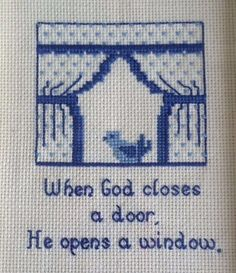 When God Closes a Door He Opens a Window Vtg Completed Cross Stitch Framed 1981 #CreativeCircle