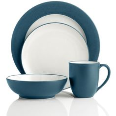 Noritake Colorwave Blue Dinnerware ($63) ❤ liked on Polyvore featuring home, kitchen & dining, dinnerware, colored dinnerware, noritake dish, noritake, blue dish and colored dishes