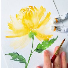 """Fantastic No Cost Chrysanthemum watercolor Popular Chrysanthemums, better known since """"mums"""" recommended to their associates, will be late-season b Watercolor Lettering, Watercolor Cards, Watercolour Painting, Watercolor Flowers, Watercolor Projects, Alcohol Ink Painting, Floral Illustrations, Painting Inspiration, Art Lessons"""