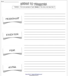 Printables Bridge To Terabithia Worksheets bridge to terabithia student worksheets pinterest cause and activities include sequencing plot setting characters character trait chart letter wri