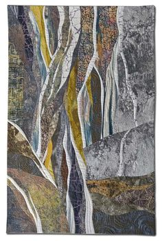 Hilde Morin, Watching the Water Fall -- curve piecing without pinning . Fiber Art Quilts, Textile Fiber Art, Textile Artists, Quilt Art, Art Quilting, Quilting Ideas, Textiles, Landscape Art Quilts, Landscapes