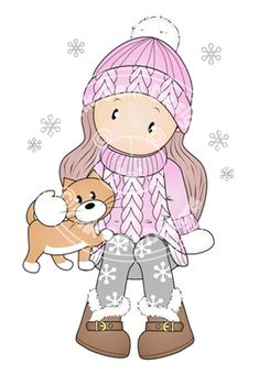Digital (Digi) 'Chloe in Hat & Jumper' Stamp. Makes Cute Christmas Cards