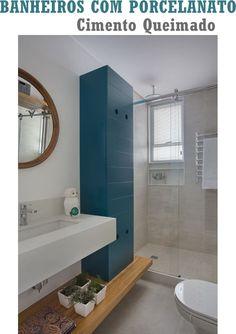 Lindas inspirações para projetar banheiro em porcelanato cimento queimado que está tão em alta na decoração.