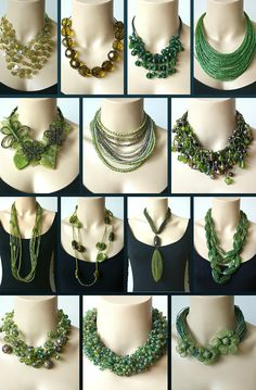 Bijoux in mooie groene tinten #groen #statementketting http://www.statementpieces.nl/c-1321032/groene-tinten/