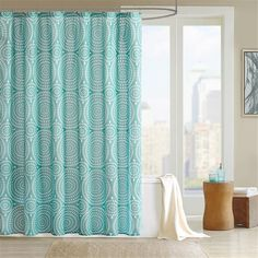 Add a fun update to your space with the Madison Park Phoebe shower curtain. This dusty teal is the perfect backdrop for the ivory, exploded floral motif. Made from polyester microfiber, this shower curtain is machine washable for easy care.