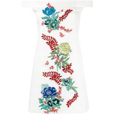 House Of Holland off-the-shoulder embroidered dress (3,245 EGP) ❤ liked on Polyvore featuring dresses, white, white broderie dress, embroidery dress, house of holland, white day dress and house of holland dress