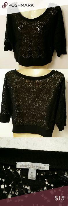 Charlotte Russe black sheer blouse Black shear blouse with 3/4 sleeves Charlotte Russe Tops Blouses