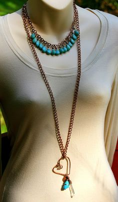 Teardrop Turquoise Beaded Copper Necklace  by AllowingArtDesigns, $46.00
