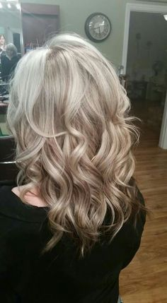 Coffee blonde on pre-lightened platinum base- Kenra Professional Color and Olaplex Traditional foil placement, 8BG+5B