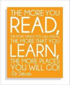 Dr. Seuss Quote, Read,  Modern Art Print Typography Nursery wall decor, Kids Wall Art, Playroom or Classroom wall art-11x14