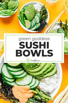 This healthy Green Goddess Sushi Bowl recipe takes everything good about vegetarian sushi and turns it into a hassle-free, mouth-wateringly delicious bowl. The perfect vegan and gluten-free meal thats fast, easy, and full of flavor! #sushi #sushibowl #vegetarian #vegan #glutenfree Best Vegetarian Recipes, Asian Recipes, Healthy Recipes, Healthy Food, Slow Cooker Recipes, Beef Recipes, Sushi Bowl, How To Cook Asparagus, Free Meal