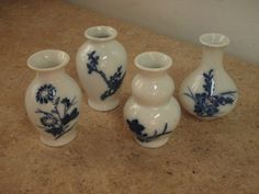 """Lot of 4 Miniature Vases 2 3/4"""" Tall Blue White Doll House Decor Kwanodong China"""