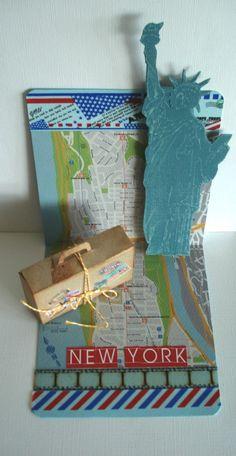 Ein besonderes Geldgeschenk für die Flitterwochen in New York.  Diese Inszenierung ist als Popup-Karte gearbeitet, d.h. die Freiheitsstatue, kommt ein wenig hervor, wenn man die Karte öffnet.Der...