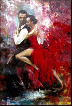 Original Oil Painting - Tango Dancers - Passion Dance - Love Couple Dance