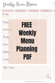 Simplify your weekly meal planning with this FREE Weekly Menu Planning PDF #menuplanner #freemenuplanningpdf #weeklymenuplan Weekly Menu Planning, Meal Planning, Christian Homemaking, Marriage Help, Menu Planners, Breakfast Lunch Dinner, Saving Money, Encouragement, Thankful