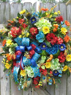 Peacock Wreath Cottage Wreath Bohemian Artsy by IvySageDesigns