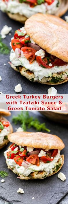 Tomato Recipes Greek Turkey Burgers with Tzatziki Sauce and Greek Tomato Salad- Juicy turkey burgers topped with cool, creamy tzatziki sauce, feta and a Greek tomato salad for maximum flavor. Serve them in pitas for a fresh and flavorful dinner! Gourmet Sandwiches, Gourmet Burger, Steak Sandwiches, Greek Turkey Burgers, Turkey Burger Recipes, Veggie Burgers, Burger Salad, Beef Burgers, Hamburger Recipes