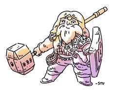 Addie Lemonbeard, my current D&D character - LVL 3 Dwarven Cleric