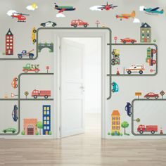Cars, trucks, EMS vehicles, road and busy town removable fabric wall decals. Your kids will enjoy creating their own unique busy transportation town mural. Wall Stickers, Wall Decals, Mural Wall, Wall Art, Tan House, Transportation Theme, Boy Room, Child's Room, Kids Bedroom