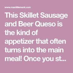 This Skillet Sausage and Beer Queso is one of our favorite party appetizers! We serve this queso with tortilla chips, pita chips and vegetables for dipping! Queso Recipe, Small Meals, Tortilla Chips, Appetizers For Party, Skillet, Sausage, Dips, Beer, Recipes