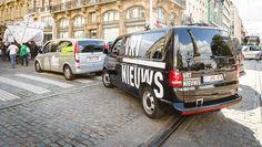 vrt DIRECTIE | ... Een protestactie van de VRT tegen de besparingsplannen. © belga