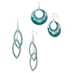 Drop Epoxy Earrings Duo - Turquoise @ Target