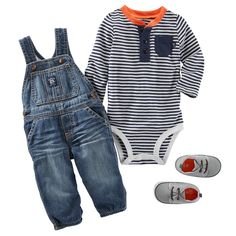 a hint of orange, these stripes look just right with super soft OshKosh overalls. Add casual crib shoes and he's set for grandpa's. Baby Outfits, Outfits Niños, Little Boy Outfits, Toddler Outfits, Kids Outfits, Baby Boys, Toddler Boys, Baby Gap, Baby Boy Fashion