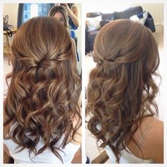 Half up half down homecoming hair idea.