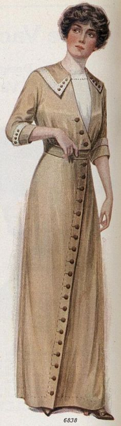 1912, tan chambray with buttons in diagonal line