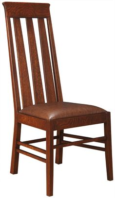 """Highlands Side Chair 89/91-360  An effortless combination of mission and modern, these chairs feature tapered back slats and a back that narrows at the top, making it a worthy guest at any table. Available in solid oak or cherry.  MODEL OPTIONS OAK ModelDetailsDimensions 89-360-SSeat Height: 19½"""". An adaptation of a circa 1905 chair by Stickley brothers Charles and John George. Its tapered back, accentuated by tapered back slats, lends some contemporary flair. Tapered and splayed front…"""