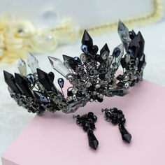 Handmade Luxury Black Baroque Style Bridal Crystal Crown Tiara Headpieces Evening Hair Accessories